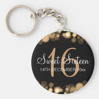 Winter Sweet 16 Birthday Party Gold Bokeh Lights Keychain