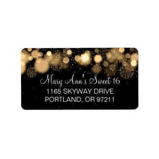 Winter Sweet 16 Birthday Party Gold Bokeh Lights Label
