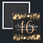 """Winter Sweet 16 Birthday Party Gold Bokeh Lights Magnet<br><div class=""""desc"""">Matching products available! Elegant Winter sweet sixteen / Sweet 16 Birthday Party w/ Gold Bokeh Lights,  snowflakes and sparkles and custom text. Fully customizable! Easy to use and easy to personalize. Order Today!</div>"""