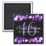 Winter Sweet 16 Birthday Party Purple Bokeh Lights 2 Inch Square Magnet