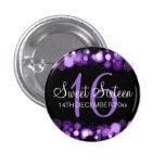 Winter Sweet 16 Birthday Party Purple Bokeh Lights 1 Inch Round Button