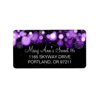 Winter Sweet 16 Birthday Party Purple Bokeh Lights Address Label