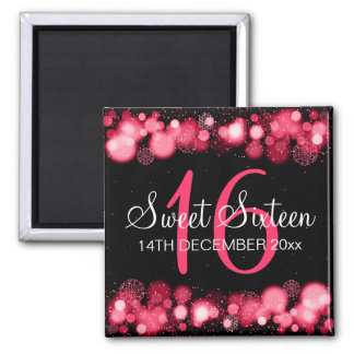Winter Sweet 16 Birthday Party Red Bokeh Lights Magnet