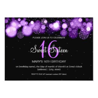"Winter Sweet Sixteen Birthday Party Purple 5"" X 7"" Invitation Card"