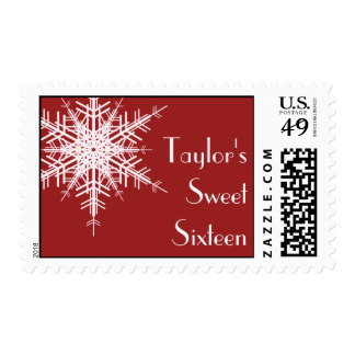 Winter Sweet Sixteen Stamp red