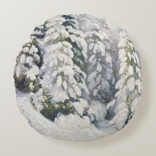 Winter Tale, 1913 Round Pillow