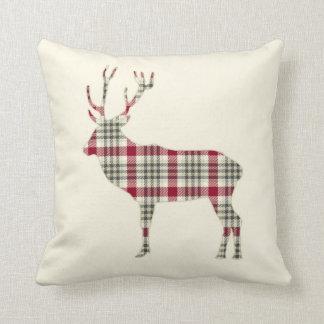 Winter Tartan Plaid Deer Pillow