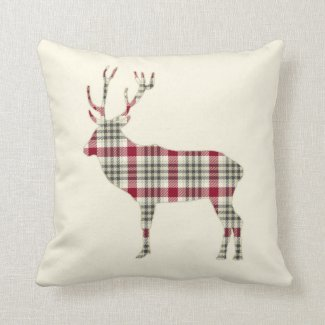 Winter Tartan Plaid Deer Throw Pillows