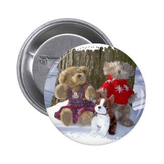 Winter teddies with pup button