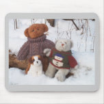 Winter Teddy Brothers with pup Mouse Mats