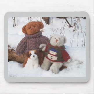 Winter Teddy Brothers with pup Mouse Pad