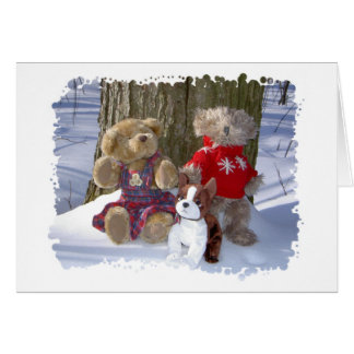 Winter Teddy Couple with pup Card