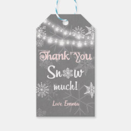 Winter thank you Snow much favor tags Girl Pink