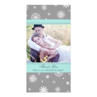 Winter Thank You Wedding Photo Card Grey Blue