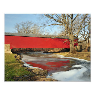 Winter Thaw Covered Bridge Photo