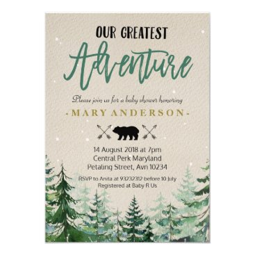 Toddler & Baby themed Winter The Adventure Begins Baby Shower Invitation