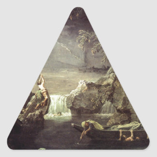 Winter (The Flood) by Nicolas Poussin Triangle Sticker