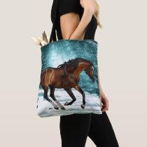 Winter Theme Galloping Arabian Horse Tote Bag