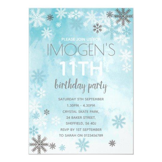 winter themed birthday party invitation zazzle com