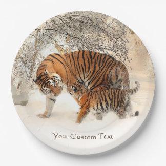 Winter Tigers custom paper plates