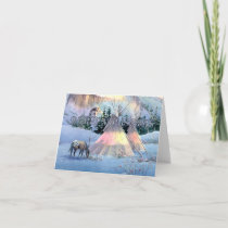 WINTER TIPI CAMP by SHARON SHARPE Holiday Card