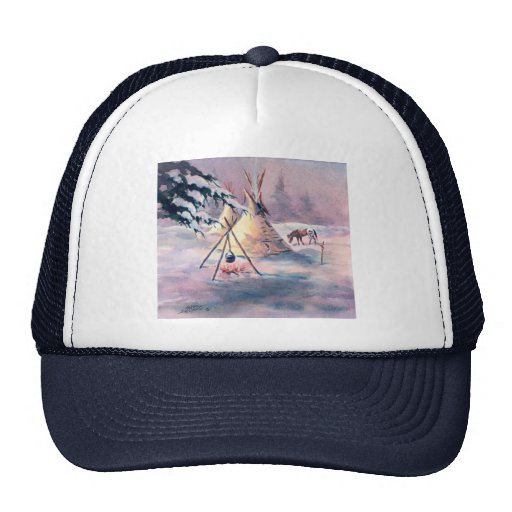 WINTER TIPI FIRE & APPALOOSA by SHARON SHARPE Mesh Hats