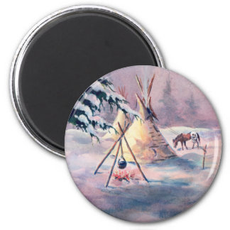 WINTER TIPI FIRE & APPALOOSA by SHARON SHARPE Magnet