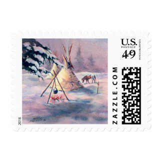 WINTER TIPI FIRE & APPALOOSA by SHARON SHARPE Postage