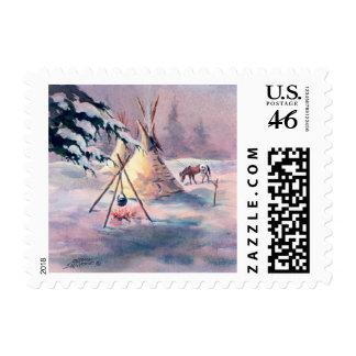 WINTER TIPI FIRE & APPALOOSA by SHARON SHARPE Stamp