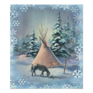 WINTER TIPI & SNOWFLAKES by SHARON SHARPE Poster