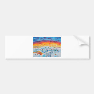 Winter town folk art winter landscape bumper sticker