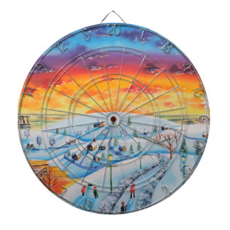 Winter town folk art winter landscape dartboards
