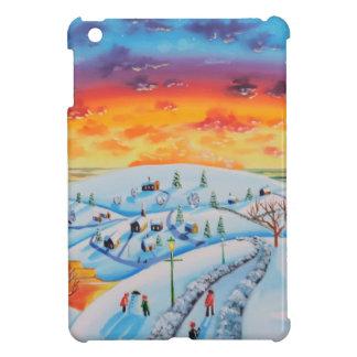 Winter town folk art winter landscape iPad mini cover