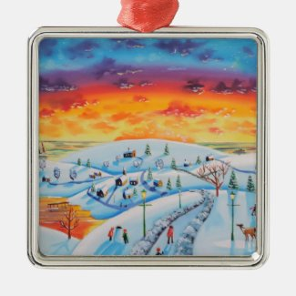 Winter town folk art winter landscape metal ornament