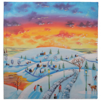 Winter town folk art winter landscape napkin