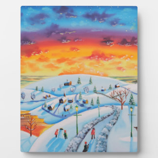 Winter town folk art winter landscape plaque