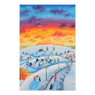 Winter town folk art winter landscape stationery