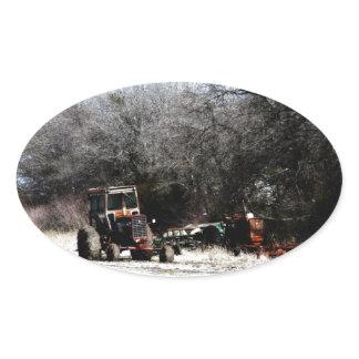 Winter Tractor Oval Sticker
