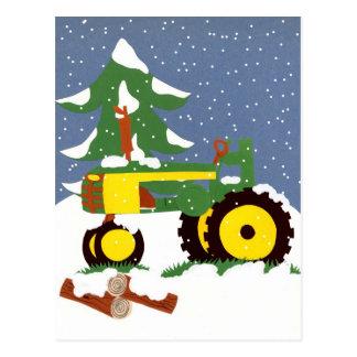 Winter Tractor Postcard