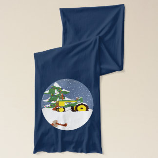 Winter Tractor with Lighted Christmas Tree in Snow Scarf