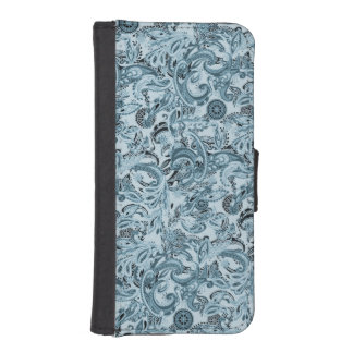 Winter traditional paisley floral blue pattern DIY iPhone SE/5/5s Wallet