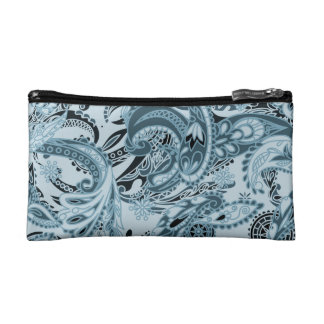 Winter traditional paisley floral blue pattern DIY Makeup Bag