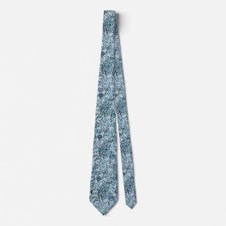 Winter traditional paisley floral blue pattern DIY Tie