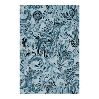 Winter traditional paisley floral blue pattern poster