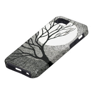 Winter Tree and Moon in Black and White iPhone SE/5/5s Case