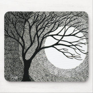 Winter Tree and Moon in Black and White Mouse Pad