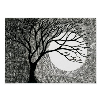 Winter Tree and Moon in Black and White Poster