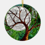 Winter Tree and Moon on Green Ornament