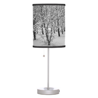 Winter Tree, Black and White Lamp