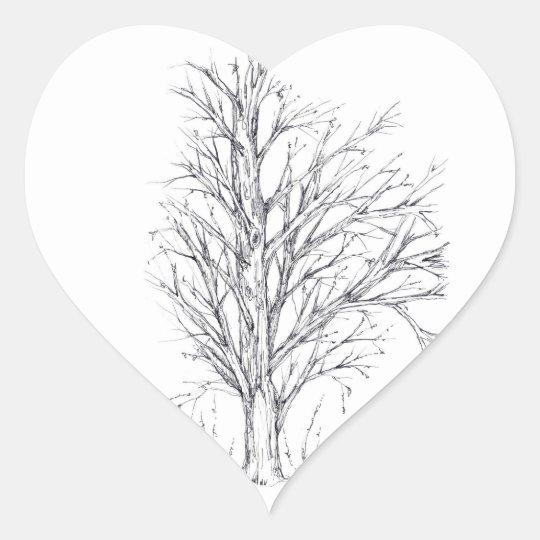 Winter Tree Black Ink Drawing Art Sketch Heart Sticker